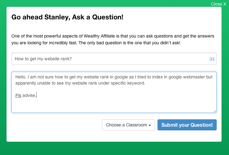 Wealthy Affiliate - ask questions