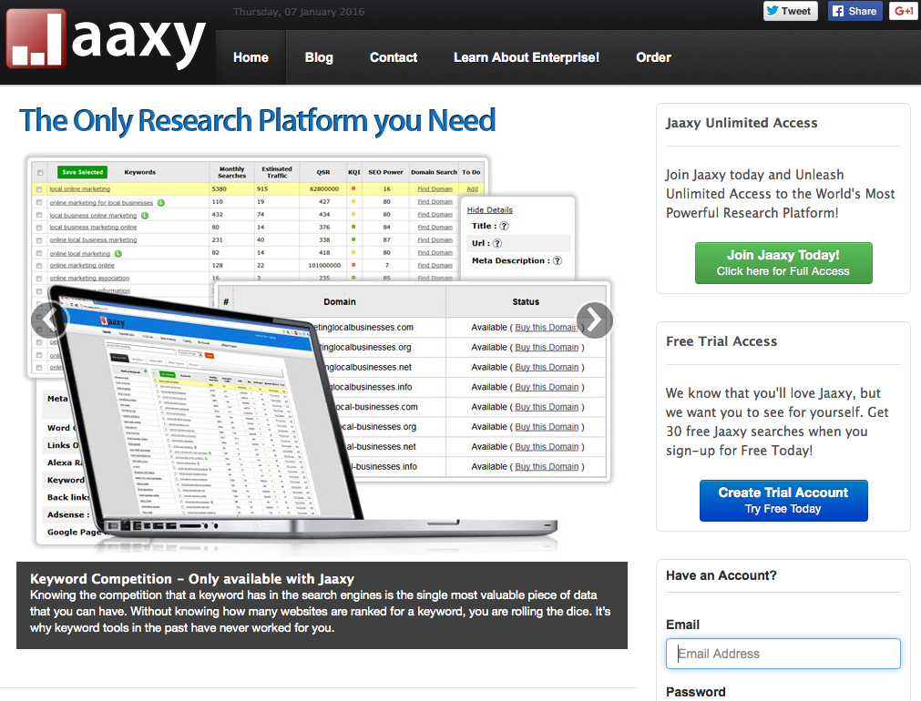 Jaaxy niche finder tool
