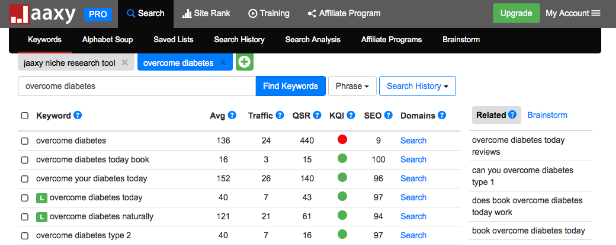 Jaaxy keyword niche finder - list